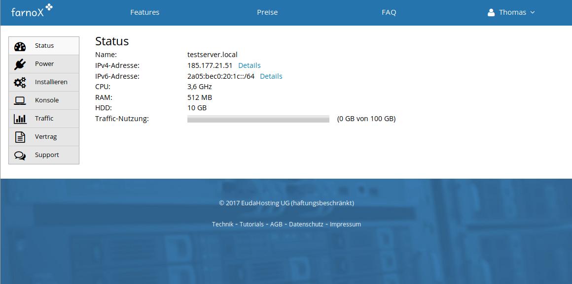 FarnoX Cloudserver-Verwaltung